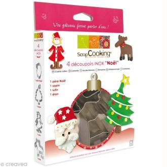 Découpoir inox Noël - 4 emporte-pièces