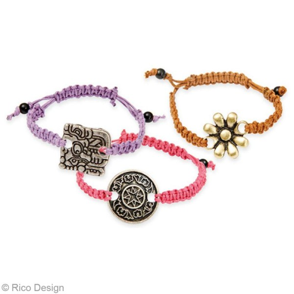 Kit bracelet type brésilien - Rose et noir - 4 bracelets - Photo n°2