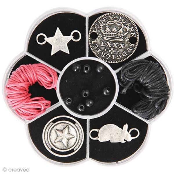 Kit bracelet type brésilien - Rose et noir - 4 bracelets - Photo n°1