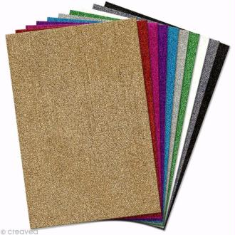 Papier mousse EVA pailleté 20 x 30 cm - Assortiment x 10 feuilles