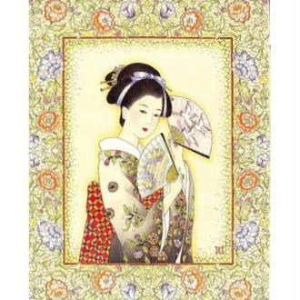 Image 3D Femme - Tableau chinoise avec éventail 24 x 30 cm