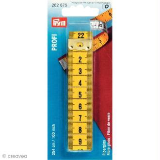 Centimètre de couturière jaune 254 cm / 100 inch