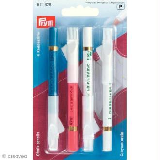Crayon craie avec brosse à effacer x 4