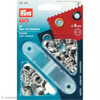 Kit oeillet Prym - Oeillets chromées 8 mm - 24 pcs