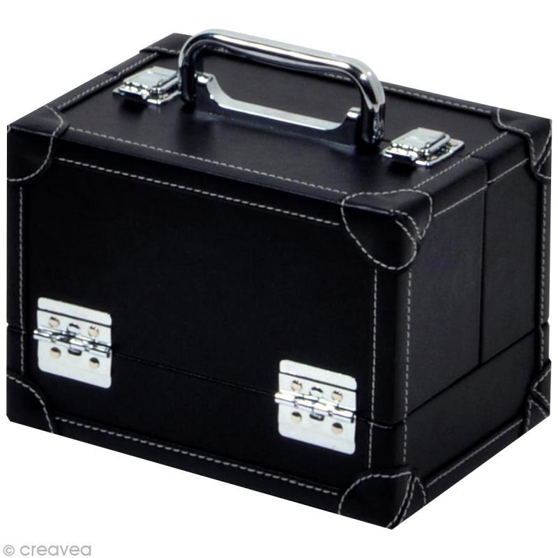 Valise de rangement aspect cuir - Taille M - 22 x 16 x 16 cm - Boite rangement couture - Creavea