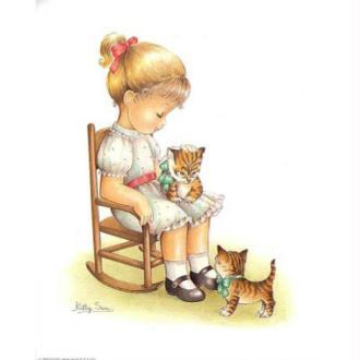 Image 3D Enfant - Fillette et chatons 24 x 30 cm