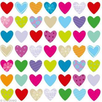 Serviette en papier Mariage - Coeurs multicolores 1 - 20 pcs