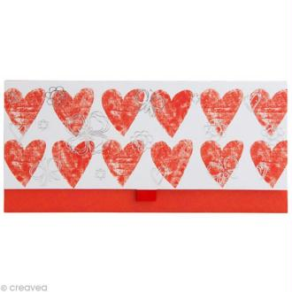 Enveloppe cadeau Mariage - Coeurs rouges, fleurs argentées - 23x11 cm