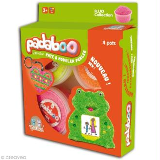 Pâte à modeler Padaboo - Perlée Fluo - 4 x 38 g