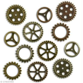Embellissement scrap Vintage - Engrenages métal - 12 pcs
