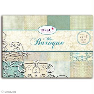 Papier scrapbooking Baroque - Set 36 feuilles 11 x 16 cm - Recto
