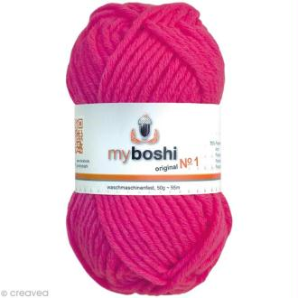 Laine à crocheter MyBoshi  n°1 - 182 Rose fluo - 50 gr x 55 m