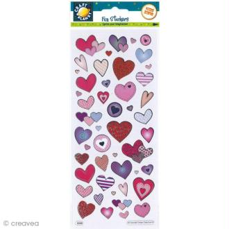 Autocollant Fun stickers - Coeurs - 1 planche 23 x 10 cm