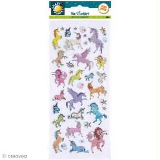 Autocollant Fun stickers - Licornes - 1 planche 23 x 10 cm