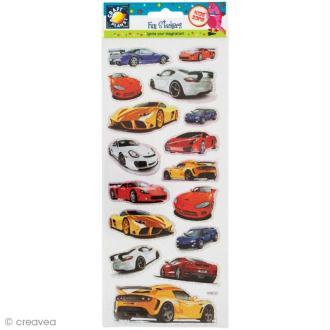 Autocollant Fun stickers - Voitures - 1 planche 24 x 10,2 cm