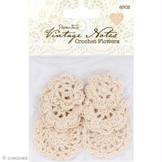 Fleurs au crochet écrues - Vintage Notes - 6 pcs
