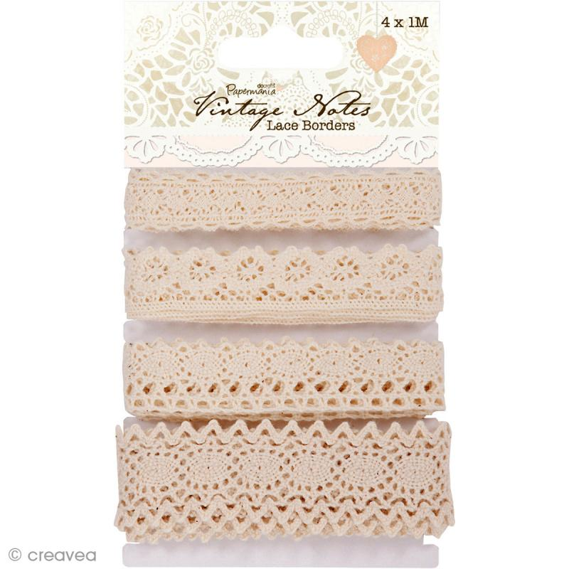 Ruban dentelle Vintage Notes - 4 bordures de 1 m - Photo n°1