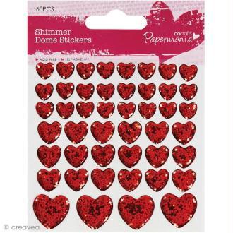 Stickers epoxy Coeur - Rouge à paillettes x 46