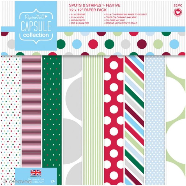 Papier scrapbooking Papermania - Points & rayures Festive 30 x 30 cm - 32 feuilles - Photo n°1