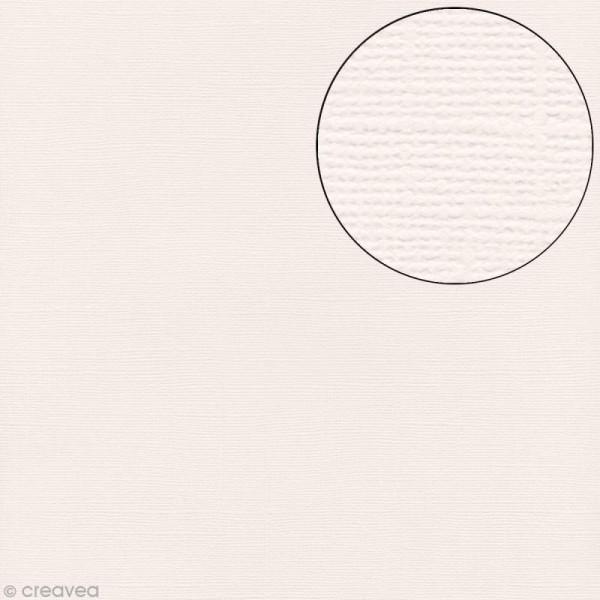 Papier scrapbooking Bazzill 30 x 30 cm - Texture - Vanilla (blanc crème) - Photo n°1