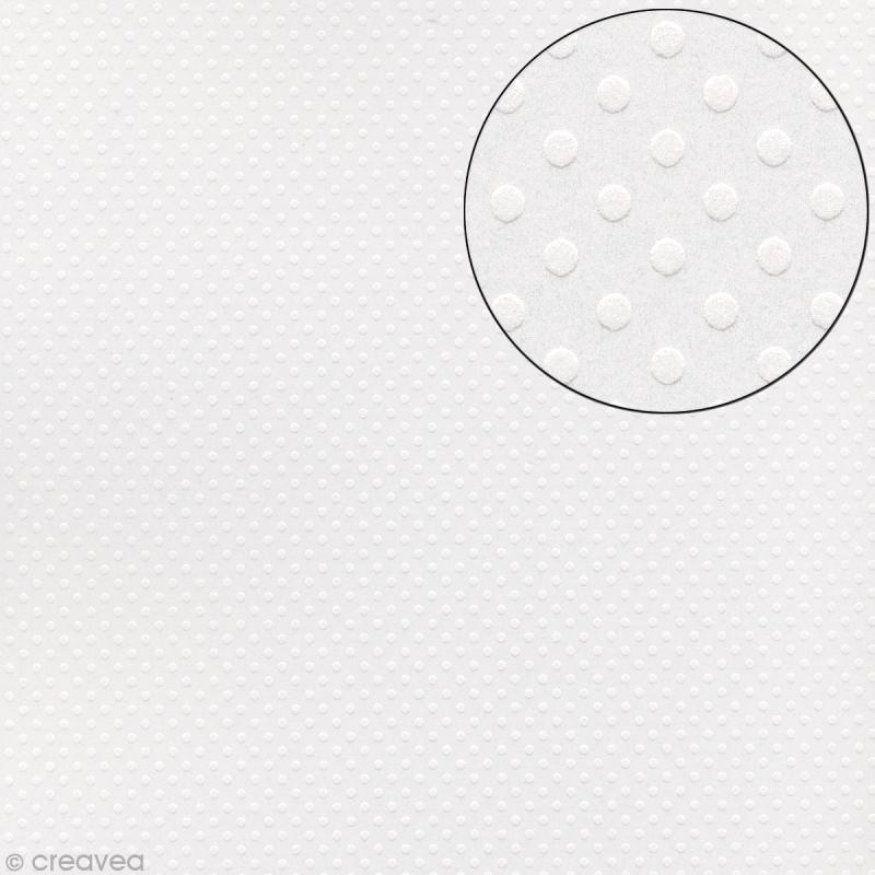 Papier scrapbooking Bazzill 30 x 30 cm - Pois - Dotted salt (blanc) - Photo n°1