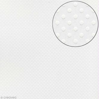 Papier scrapbooking Bazzill 30 x 30 cm - Pois - Dotted salt (blanc)