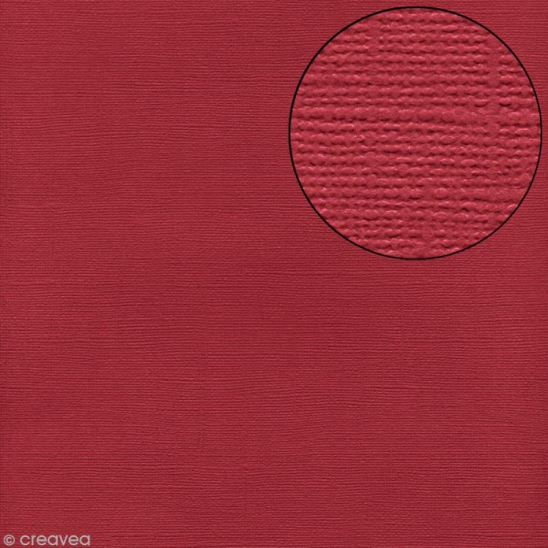 Papier scrapbooking Bazzill 30 x 30 cm - Texture - Red (rouge) - Photo n°1
