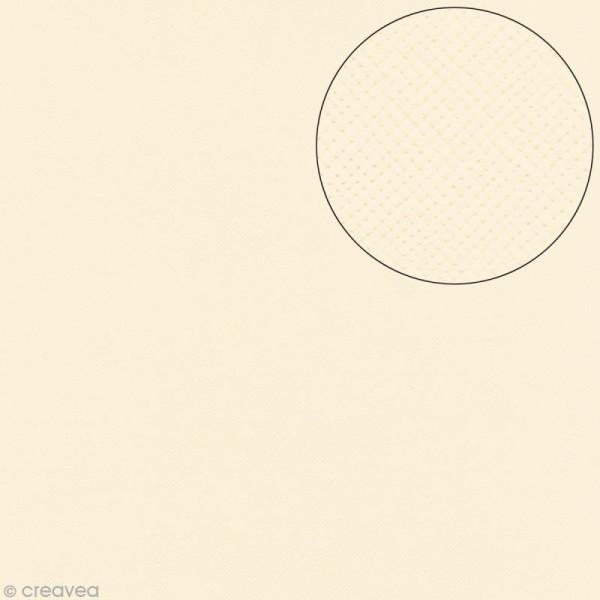 Papier scrapbooking Bazzill 30 x 30 cm - Texture - Criss cross cream puff (blanc crème) - Photo n°1