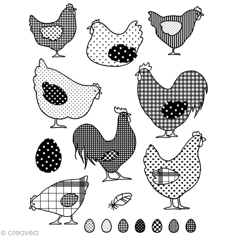 Tampon transparent poules et coqs planche 14 x 18 cm - Photos poules rigolotes ...