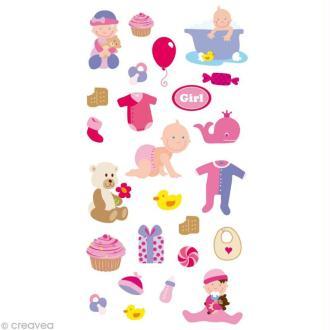 Stickers Puffies 13,5 x 8 cm - Bébé fille x 24 autocollants
