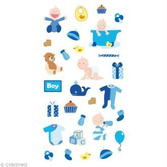 Stickers Puffies 13,5 x 8 cm - Bébé garçon x 29 autocollants