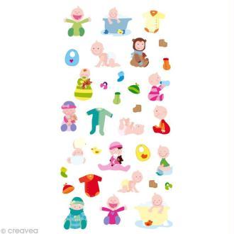 Stickers Puffies 13,5 x 8 cm - Bébé x 33 autocollants