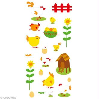 Stickers Puffies 13,5 x 8 cm - Poules x 20 autocollants