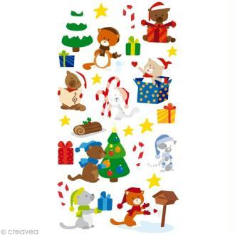Stickers Puffies 13,5 x 8 cm - Chats de Noël x 25 autocollants