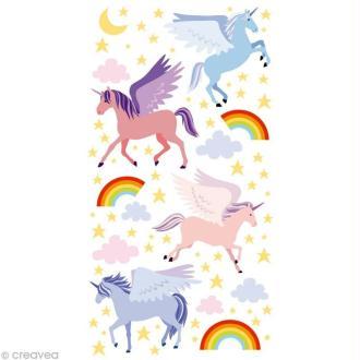 Stickers Puffies 13,5 x 8 cm - Licornes x 35 autocollants