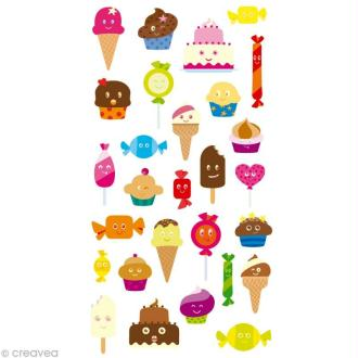 Stickers Puffies 13,5 x 8 cm - Glaces et desserts x 28 autocollants