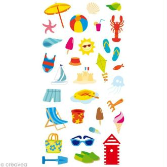 Stickers Puffies 13,5 x 8 cm - Plage x 32 autocollants