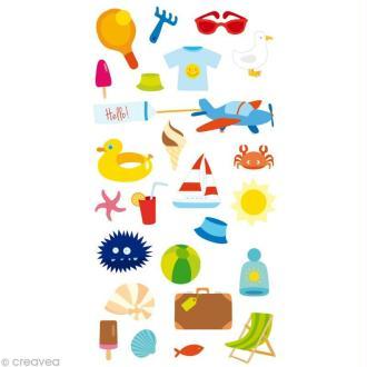 Stickers Puffies 13,5 x 8 cm - Plage et vacances x 25 autocollants