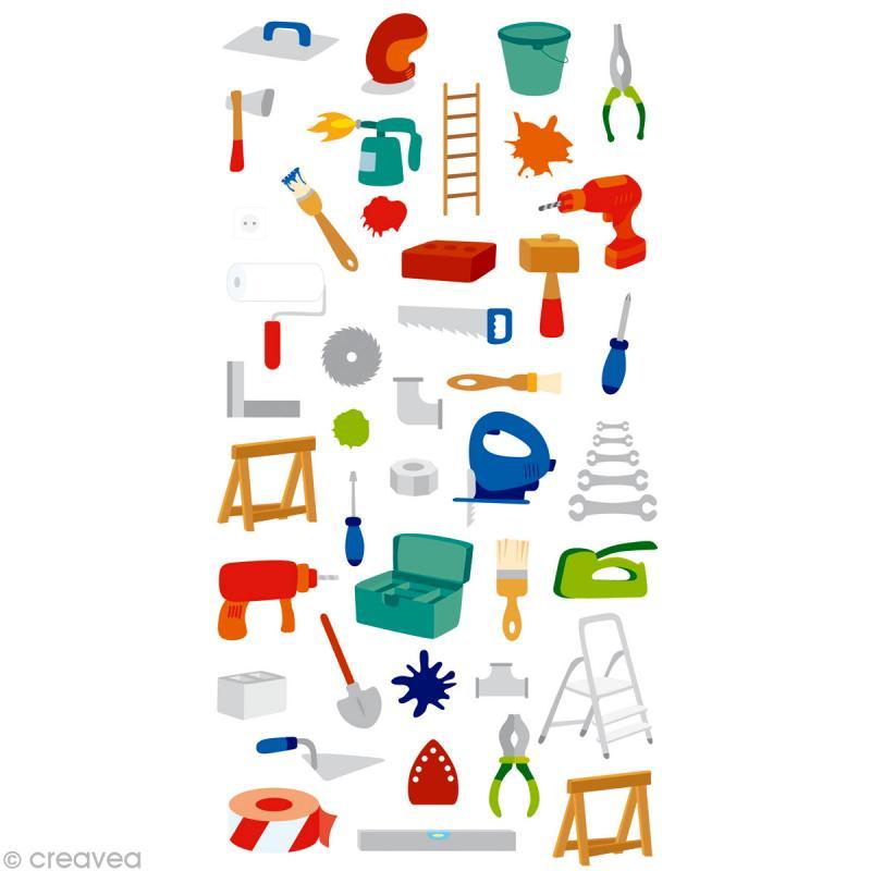 Outil De Bricolage : stickers puffies 13 5 x 8 cm outils de bricolage x 47 ~ Melissatoandfro.com Idées de Décoration