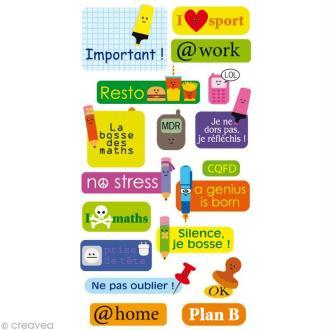 Stickers Puffies 13,5 x 8 cm - Textes école x 18 autocollants