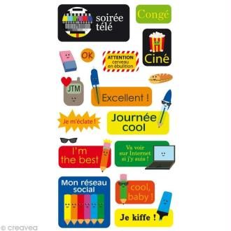 Stickers Puffies 13,5 x 8 cm - Textes agenda x 17 autocollants