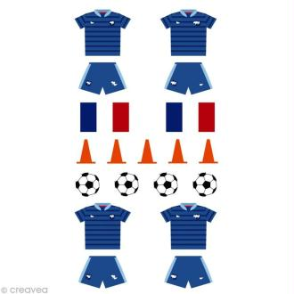 Stickers Puffies 13,5 x 8 cm - Foot France x 19 autocollants