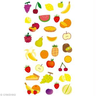 Stickers Puffies 13,5 x 8 cm - Fruits x 31 autocollants