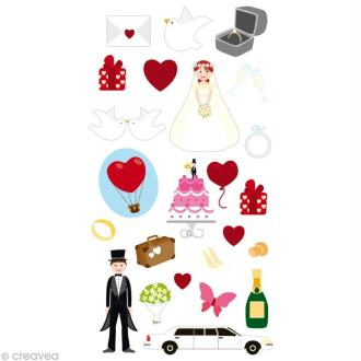 Stickers Puffies 13,5 x 8 cm - Mariage x 24 autocollants