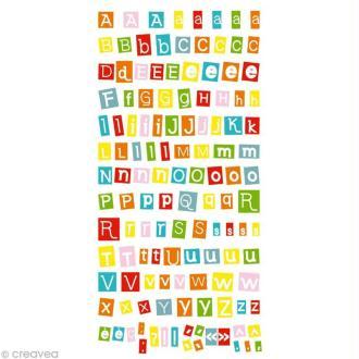Stickers Puffies 13,5 x 8 cm - Alphabet fun x 126 autocollants