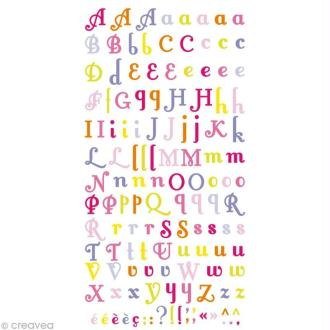 Stickers Puffies 13,5 x 8 cm - Alphabet fille x 106 autocollants