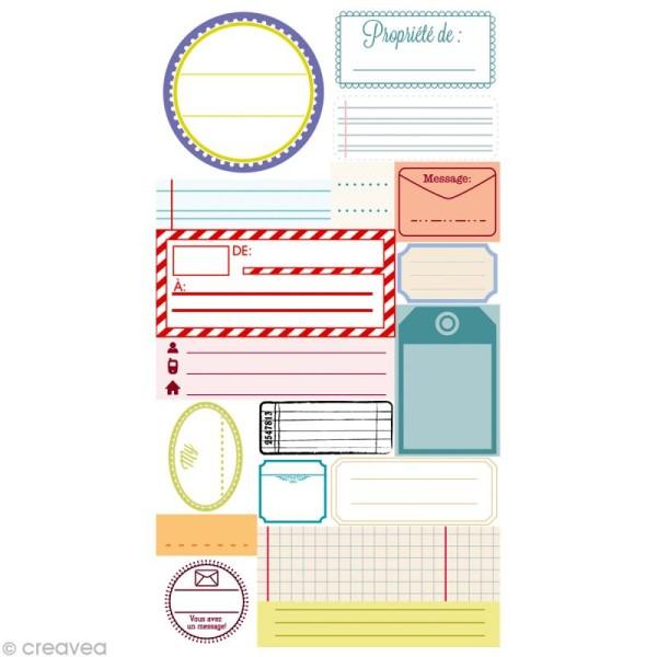 Stickers Puffies 13,5 x 8 cm - Étiquettes papier x 18 autocollants - Photo n°1