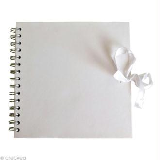Carnet scrapbooking 20 x 20 cm - Blanc - 40 feuilles