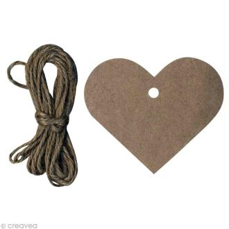 Etiquette kraft coeur x 12 avec ficelle
