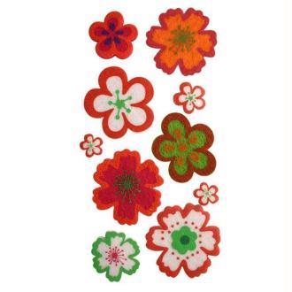 Lot fleurs en feutrine adhésive rouge X 10